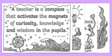 World Teachers' Day Quotes Mindfulness Colouring Pages