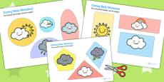 Weather Themed Cutting Skills Worksheet
