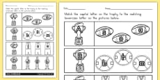 AFL Australian Football League Themed Capital Letter Matching Worksheet