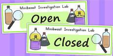 Minibeasts Investigation Lab Open Closed Signs - Australia