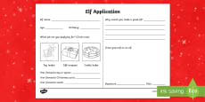 Elf Application Form Activity Sheet