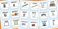 EAL Everyday Objects at School Editable Cards Romanian
