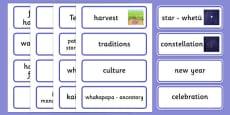 Matariki Word Cards