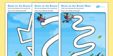 Pencil Control Path Activity Sheets to Support Teaching on Room on the Broom