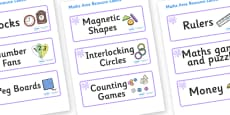 Lilac Themed Editable Maths Area Resource Labels
