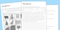 Australia - Homophones Activity Sheets
