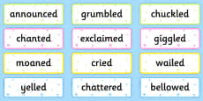 Said Synonyms Word Cards