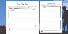 Anzac Day Diary Writing Template