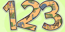 Themed A4 Display Numbers to Support Teaching on The Enormous Crocodile