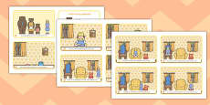 Goldilocks and the Three Bears Story Sequencing 4 per A4 with Text Arabic