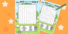 The Boy Who Cried Wolf Wordsearch