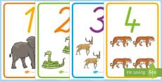 Posterkollektion für die Klassenraumgestaltung: Zahlen 0 - 20 mit Tierbildern