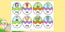 CVC I Words Easter Egg Matching Activity