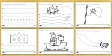 Pirate Themed Pencil Control Worksheets