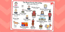Royal Family Word Mat Arabic Translation