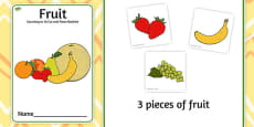 Fruit Counting to 10 Cut and Paste Booklet