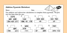 Addition Pyramids Worksheet 2