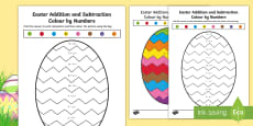 * NEW * Easter Themed Addition and Subtraction Colour by Number