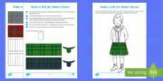 Make a Kilt for Robert Burns Activity Sheets