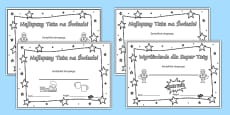 Colouring Father's Day Certificates Polish