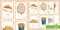 * NEW * CfE  Food Peg Activity Game - French