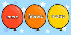 Spanish Months of the Year on Balloons