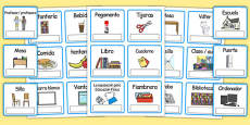 EAL Everyday Objects at School Editable Cards Spanish