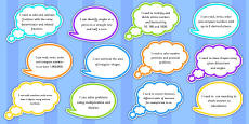 Year 5 Maths Assessment Targets on Speech Bubbles
