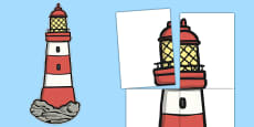 Giant Lighthouse Display Cut Out to Support Teaching on The Lighthouse Keeper's Lunch