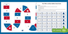 * NEW * Red, White and Blue Addition Board Game