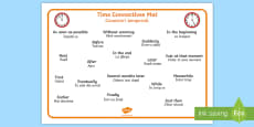 * NEW * Time Conjunctions Word Mat English/Romanian