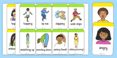 Action and Emotion Words Flash Cards