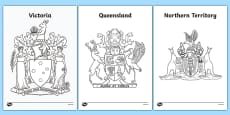 Australian States and Territories Coat of Arms Colouring Sheets