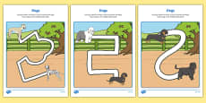 Dog-Themed Pencil Control Path Activity Sheet Pack