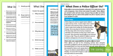 What Does A Police Officer Do? Differentiated Reading Comprehension Activity