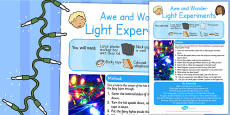 Light Experiments Awe and Wonder Science Activity