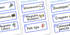 Blue Themed Editable Writing Area Resource Labels