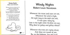 R. L. Stevenson Windy Nights Poem Sheet