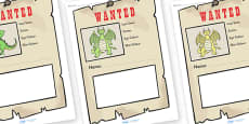 Dragon Wanted Poster Writing Frames
