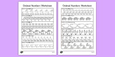 Ordinal Numbers Activity Sheet