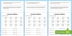 Decimals Addition Activity Sheet