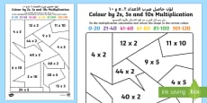 * NEW * Mixed Colour by 2s, 5s and 10s Multiplication Activity Sheet Arabic/English
