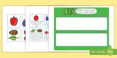 Tarjetas de emparejar de los días de la semana para ayudar la enseñanza de: la oruga glotona