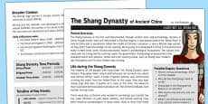 Shang Dynasty History Fact Sheet for Adults