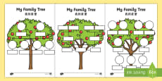 * NEW * My Family Tree Activity Sheets English/Mandarin Chinese