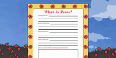 Remembrance Day What Is Peace Writing Frame