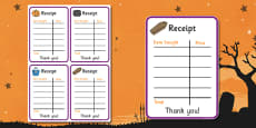 Halloween Fancy Dress Shop Role Play Receipt