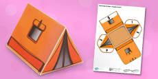 Real Life Object 3D Shapes - Triangular Prism Tent Paper Model