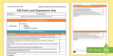 Expressive Arts Significant Aspects of Learning and Progression Framework CfE First Level Tracker