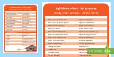 Kei te marae  At the marae Information Cards Te Reo Maori/English